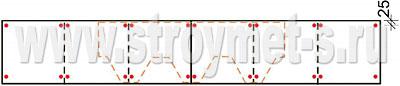 Схема крепления коньково-карнизной черепицы на карнизе