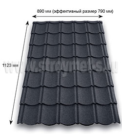 Характеристики листа черепицы Metrotile Aquapan